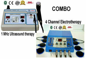 Combo 4 Channel 10ns Machine 1mhz Ultrasound Therapy Pain Relief Dhl P