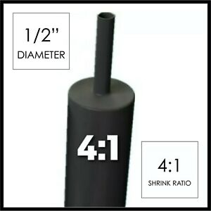 4 Ft 1 2 Black Heat Shrink Tube 4 1 Dual Wall Adhesive 5 Inch glue