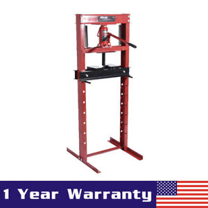Hydraulic Shop Press Floor Shop Equipment 12 Ton Jack Stand H Frame Red Manual
