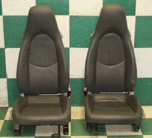 06 12 Cayman Gray Leather Seat Set Left Right Pair Manual Tracks Factory Oem