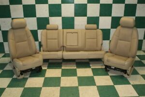 07 13 Gm Hd Truck Crew Tan Leather Cooled Heated Power Buckets Backseat Set Oem