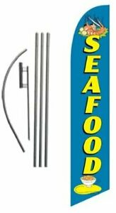Seafood Advertising Feather Banner Swooper Flag Sign With Flag Pole Kit And