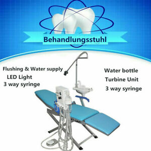 Portable Dental Folding Chair W led Light Turbine Unit Water Supply Weak Suction