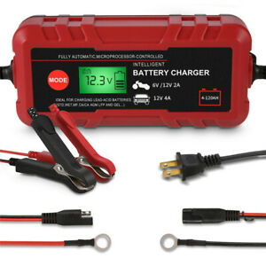 New Car Battery Charger 6v 12v Volt Motorcycle Automatic Battery Maintainer Lcd