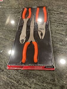 New Snap On pl330acfo 3 Pc Pliers Set Sealed In Orange