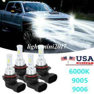 For Chevy Silverado 1500 2500hd 3500hd 2003 2006 4x Led Headlights Lights Bulbs