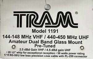 Tram Model 1191 Amateur Dual Band Glass Mount Pre Tuned Antenna 17 Cable