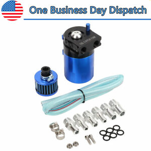 Oil Catch Can Tank Filter Kit W Breather Polish Baffled Reservoir Blue Aluminum