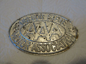 Vintage Oregon State Aaa Motor Association License Plate Topper Emblem