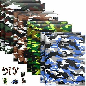 Camo Htv Heat Transfer Vinyl Bundle 8 Pack 12 X 10 Sheets Iron On Vinyl