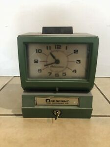 Acroprint Heavy Duty Manual Time Recorder Time Clock W Key Tested