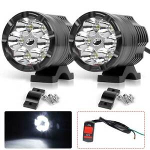 2x Led Motorcycle Atv Headlight Fog Spot Light Auxiliary Driving Lamps Switch