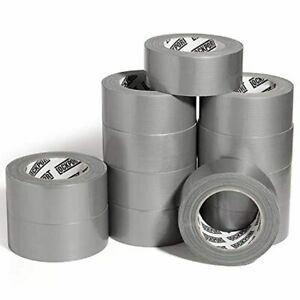 Multi Purpose Silver Duct Tape 12 Roll Bulk Value Pack 30 Yards X 2 Per Roll