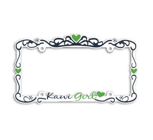 Kawasaki Kawi Girl Metal Chrome Auto License Plate Frame