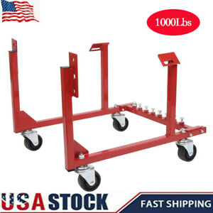 1000lb Auto Engine Cradle Stand Dolly Swivel Wheels For Chevrolet Chevy V8 Red