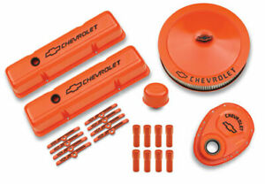 Proform Sbc Chevy Logo Orange Paint Engine Dress Up Kit P N 141 780
