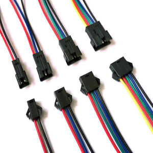 10 Pairs 2pin 3pin 4pin 5pin Male And Female Jst Sm Connector Led Strip Cable