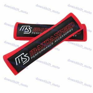 2pcs Mazda Speed Red Soft Cotton Embroidery Seat Belt Cover Shoulder Pads New
