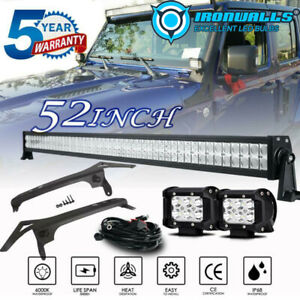 52 Inch Led Light Bar 4 Pods Mount Brackets With A Pillar For Jeep Wrangler Jl