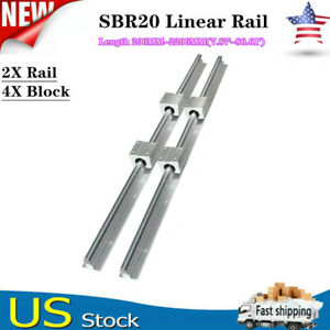 Sbr20 200 2200mm Linear Slide Rail Guide Shaft Rod With 4pcs Sbr20 Bearing Block