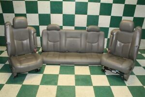 03 07 Gm Truck Ext Cab Gray Leather Heated Power Buckets Backseat Seat Set Oem
