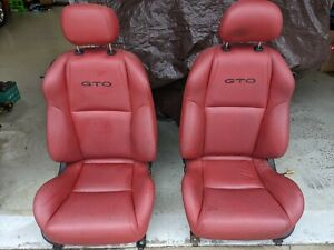 2004 2006 Pontiac Gto Front Seats Red Leather Power Fantastic Shape