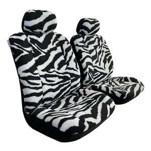 Front Car Seat Cover Warm Faux Sheepskin Zebra Printed For Toyota Tacoma 2016
