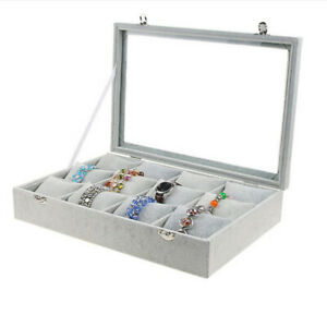 12 Pillows Jewelry Storage Box Watch Case For Necklace Ring Display Grey