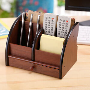 Mygift 5 Slot Luxury Black And Brown Wood Office Desktop Organizer With Drawer