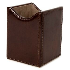 Pen Pencil Desk Holder Cup Genuine Leather Wooden Structure Case Organizer