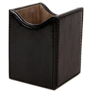 Pen Pencil Desk Holder Cup Genuine Leather With Mdf Structure Case Organizer