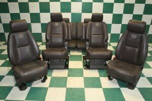 10 11 Escalade Esv Platinum Leather Heat cool Buckets 2nd Captins Chairs Screens
