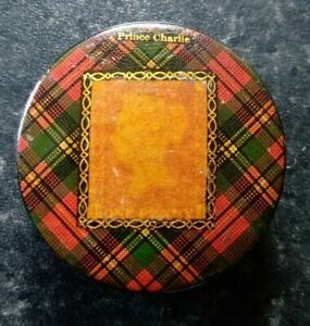 Scarce Antique 1860s 1d Red Prince Charlie Tartanware Maucheline Stamp Box Pot