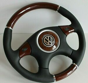 Steering Wheel Vw Wood Leather Scirocco Golf Jetta Mk1 Mk2 Beetle Bug 75 88