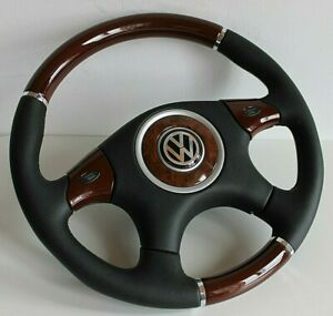 Steering Wheel Vw Wood Leather Golf Jetta Bora Mk4 Passat B5 B5 5 Beetle 97 04
