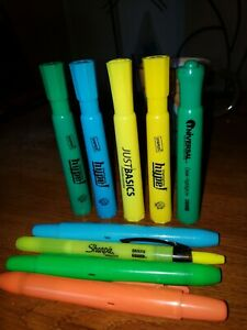 10 Piece Highlighter Marker Bundle 5 Retractable 5 Capped