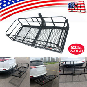 60 Folding Hitch Cargo Carrier Rack Luggage Holder Trailer 500lbs Capacity Us