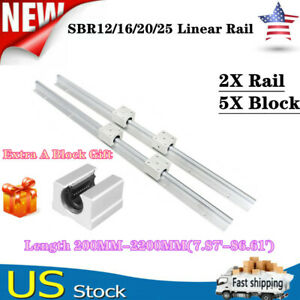 2x Sbr12 16 20 25 Linear Rail Guide L200 2200mm Slide Shaft Rod 5x Bearing Block