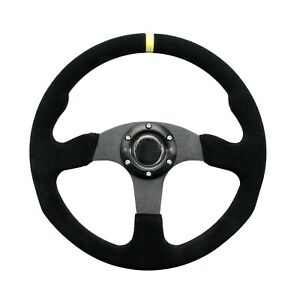 350mm Universal Racing Sport Steering Wheel Flat Dish Suede Leather Yellow Strip