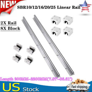 2x Sbr12 16 20 25 Linear Rail Guide L200 2200mm Slide Shaft Rod 8x Bearing Block