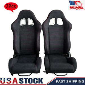 2pcs Leather Single Adjuster Double Track Racing Seats General Motors Reclinable