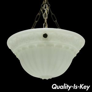 Antique White Frosted Glass Victorian Dome Hanging Chandelier Light Fixture