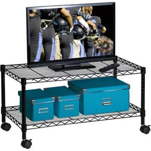 Honey Can Do Steel Media Rolling Cart With 2 Adjustable Shelves Black