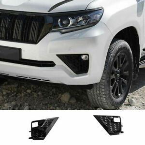 For Toyota Prado Fj150 2018 2021 Glossy Black Front Bumper Fog Lamp Trim Cover