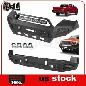 Front Rear Bumper Guard For 2016 2019 Toyota Tacoma W Led Lights D rings Black