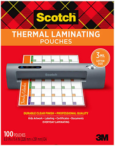 Scotch Thermal Laminating Pouches 100 pack 8 9 X 11 4 Inches 3 Ml Thick Sheets