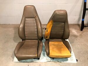Porsche 924 944 911 Manual Sport Seats Tan W Covers One Set Of Rails