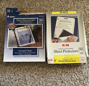 Lot Of Sheet Protectors Avery Crystal Clear K m Folded Black Side Loading