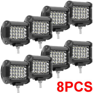 2 8pack 240w Pods Led Work Light Spot Lights For Truck Off Road Tractor Square