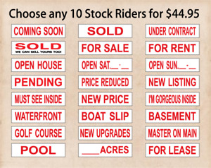 Real Estate Sign Riders 10 Signs 2 Sided Outdoor New Free Shipping Red